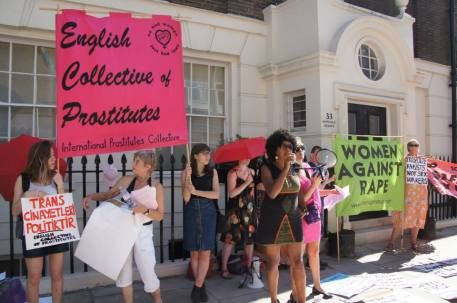 Protesters in front of the Swedish Embassy in London, in 2013. Photo credit: English Collective of Prostitutes
